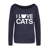 Hoodies & Sweatshirts ~ Women's Boat Neck Long Sleeve Top ~ I Love Cats