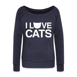 I Love Cats - Women's Boat Neck Long Sleeve Top