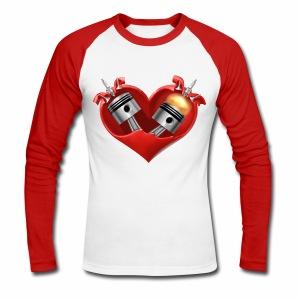 Biker's Heart - Men's Long Sleeve Baseball T-Shirt