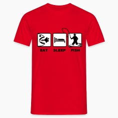 Red eat sleep fish T-Shirts