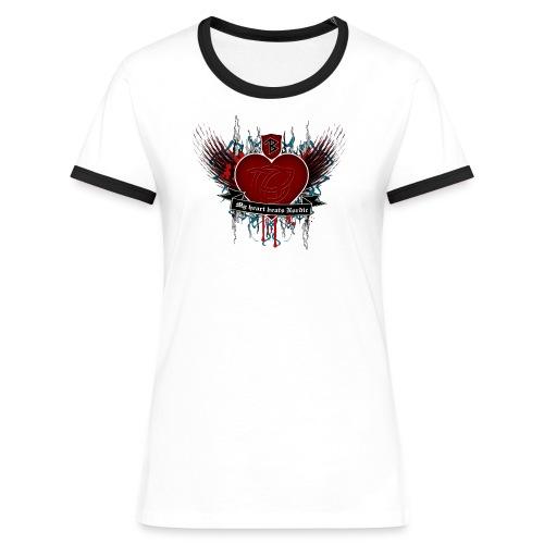 Thorbine Frauen Kontrast-shirt Northern Heart - Frauen Kontrast-T-Shirt