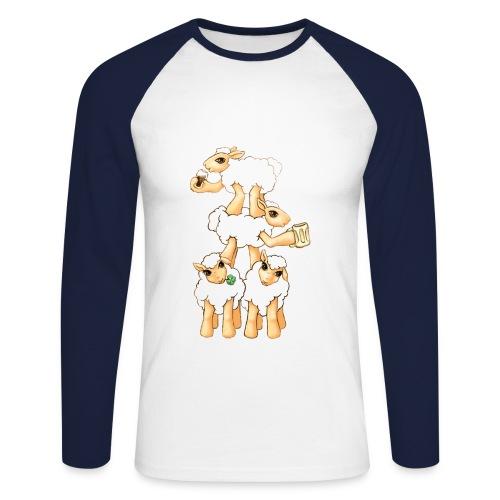 Moutons fêtant la St Patrick - T-shirt baseball manches longues Homme