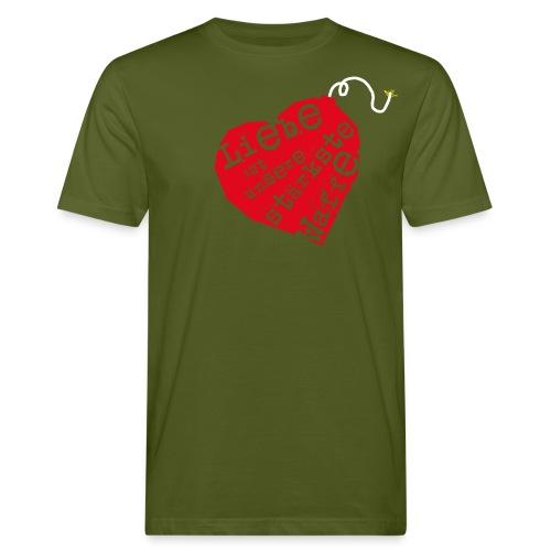 Liebe ist unsere stärkste Waffe: Herz - mit Rückendruck (rot) - Männer Bio-T-Shirt