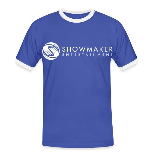 Showmaker Herren Kontrast-Shirt Logo weiß - Männer Kontrast-T-Shirt