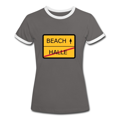 No Halle, just Beach - Frauen Kontrast-T-Shirt