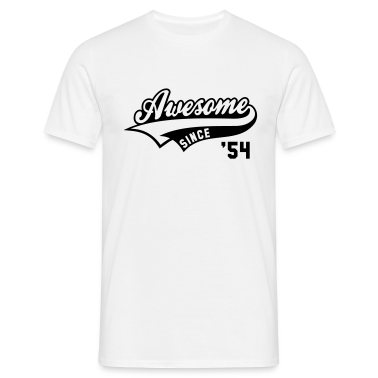 Awesome SINCE 1954 - Birthday Geburtstag Anniversaire T-Shirt BW