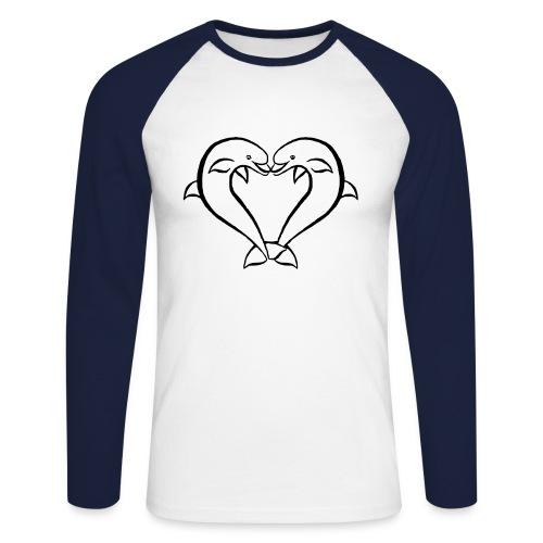 Dauphin coeur - T-shirt baseball manches longues Homme