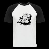 Camisetas ~ Camiseta béisbol manga corta hombre ~ mod. Enma-Negro bicolor hombre m/c