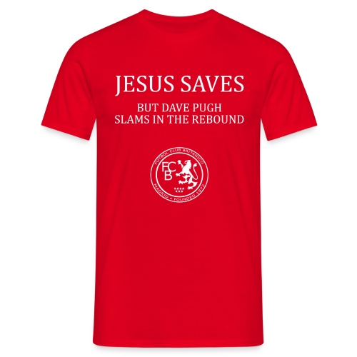 Jesus Saves - Dave Pugh White Text - Men's T-Shirt
