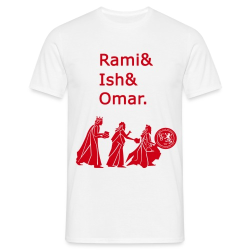 Rami&Ish&Omar Red Text T-Shirt - Men's T-Shirt