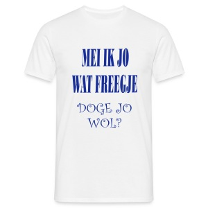 Fries Shirt Doge Wit/Blauw - Mannen T-shirt
