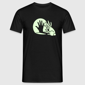 Black Rabbit Hand Shadows Glow in the dark T-Shirts - Men's T-Shirt