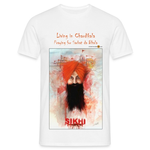 Rajoana - living in Chardikala, praying for Sarbat da Bhala - men's t-shirt - Men's T-Shirt