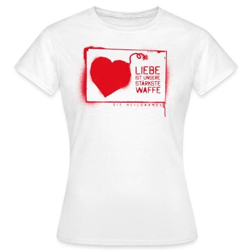 Liebe ist unsere stärkste Waffe: Spray - mit Rückendruck (rot) - Frauen T-Shirt