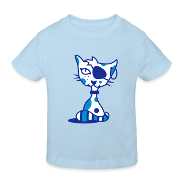 A cat with eye patch and earring Kids' Shirts