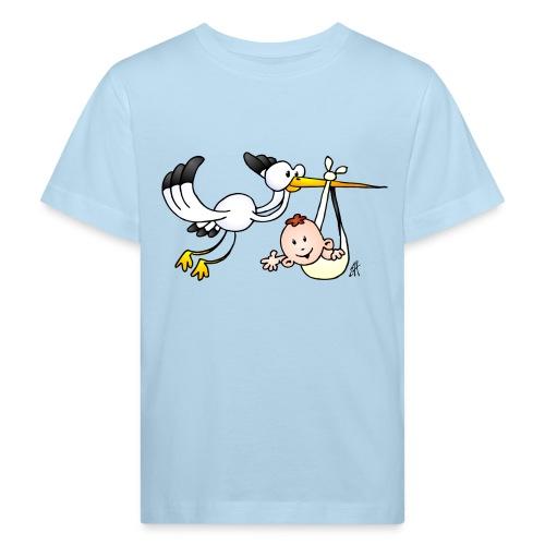 Stork with baby - Kids' Organic T-Shirt