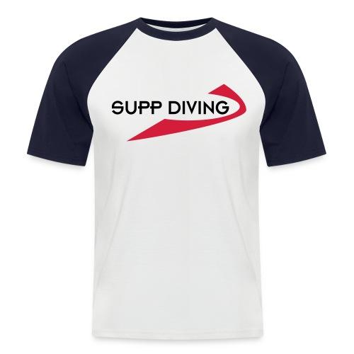 weiss/rot mit schwarzer Schrift - Männer Baseball-T-Shirt