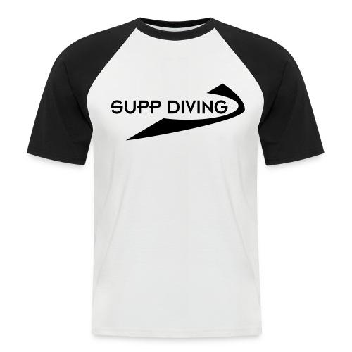 weiss/schwarz mit schwarzer Schrift - Männer Baseball-T-Shirt