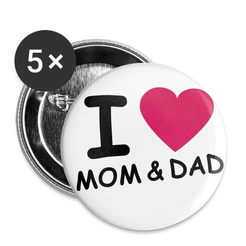 Rakastan äitiä ja isää - Rintamerkit isot 56 mm (5kpl pakkauksessa)