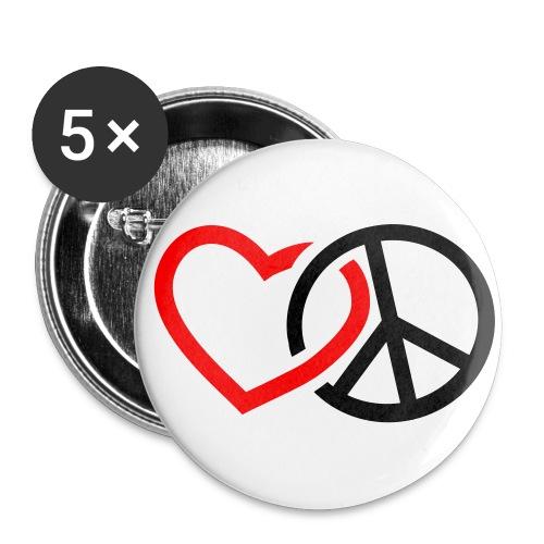 Rakkauta ja rauhaa - Rintamerkit isot 56 mm (5kpl pakkauksessa)