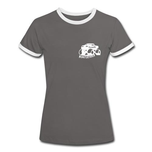 Tee shirt contraste Gris Femme - T-shirt contrasté Femme