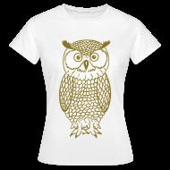 T-shirts ~ Vrouwen T-shirt ~ Uil - Goud metallic