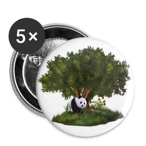 cute Panda - Buttons groß 56 mm (5er Pack)