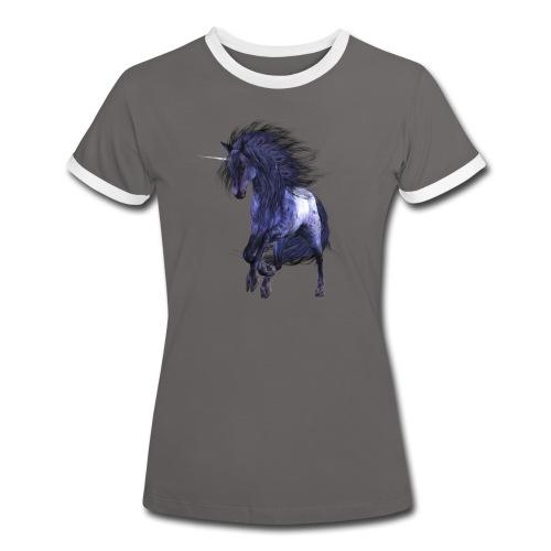 Blue Unicorn - Frauen Kontrast-T-Shirt