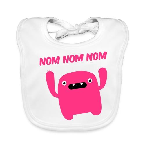 Slabberte wit- Nom, Nom, Nom - Bio-slabbetje voor baby's