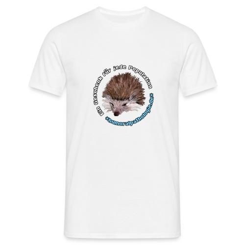 Weißes Shirt mit blauer Schrift (klassisch) - Männer T-Shirt