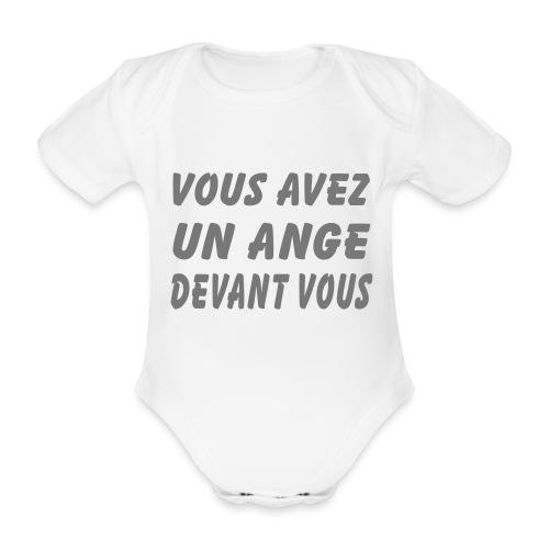 Body Ange + nom du Bébé au dos  - Body bébé bio manches courtes