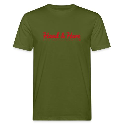 Hand & Herz (rot) - Männer Bio-T-Shirt