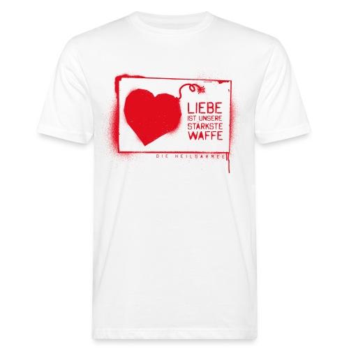 Liebe ist unsere stärkste Waffe: Spray - mit Rückendruck (rot) - Männer Bio-T-Shirt