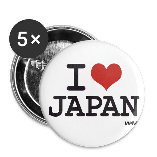 Chapa I Love Japan - Paquete de 5 chapas medianas (32 mm)