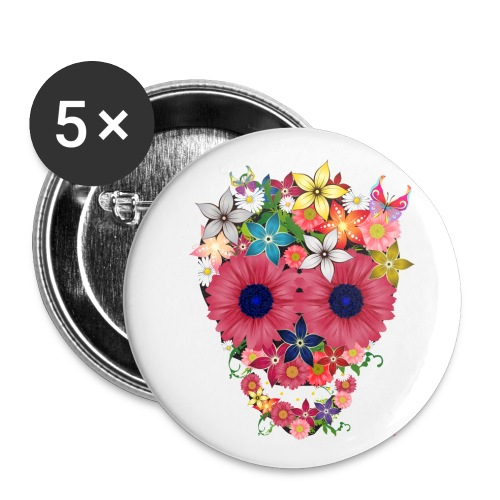 skull flowers by wam - Buttons medium 1.26/32 mm (5-pack)