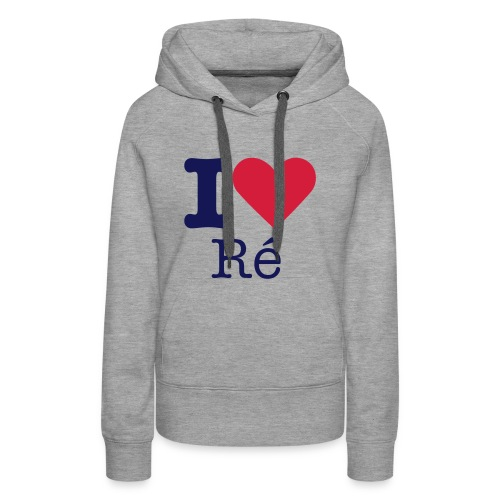 I Love Ré navy Sweat Femme - Sweat-shirt à capuche Premium pour femmes