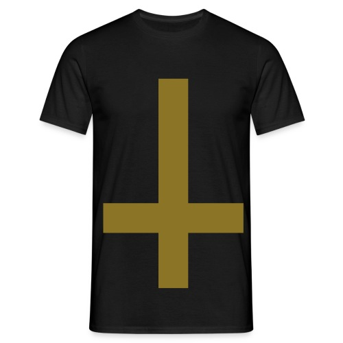 Mens Upside Down Cross Tee Gold-Metallic/Black - Men's T-Shirt