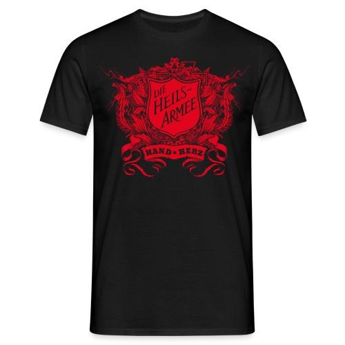 Vintage Shield - mit Rückendruck (rot) - Männer T-Shirt