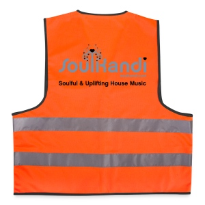 Hi Visibility Vest Fluo Orange with Silver & Black print. - Reflective Vest