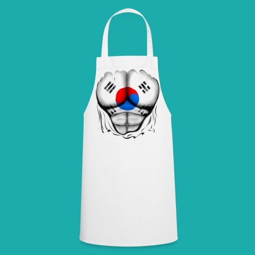 South Korea Flag Ripped Muscles, six pack, chest t-shirt - Cooking Apron