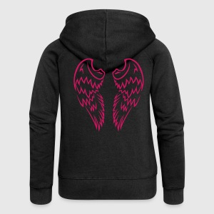Pink Tribal Tattoo Angel Wings - Women's Premium Hooded Jacket