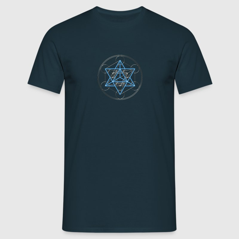 Star Tetrahedron - Merkaba, DD, silver blue,  Flower of Life, Sacred geometry, Platonic Solids Tee shirts - T-shirt Homme
