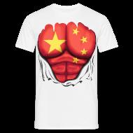 T-Shirts ~ Men's T-Shirt ~ China Flag Ripped Muscles, six pack, chest t-shirt