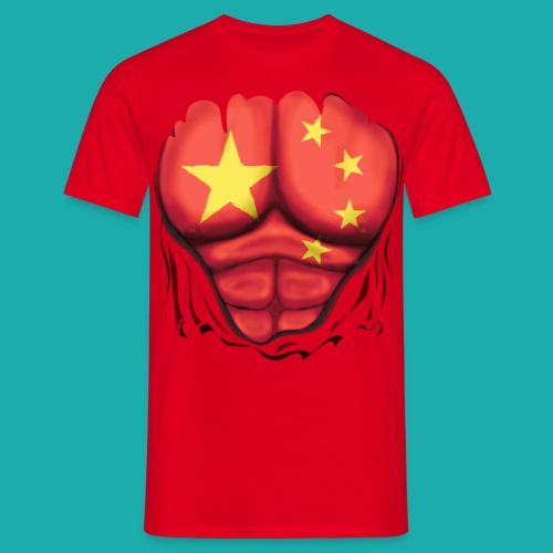 China Flag Ripped Muscles, six pack, chest t-shirt - Men's T-Shirt