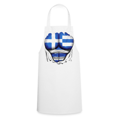 Greece Flag Ripped Muscles six pack chest apron