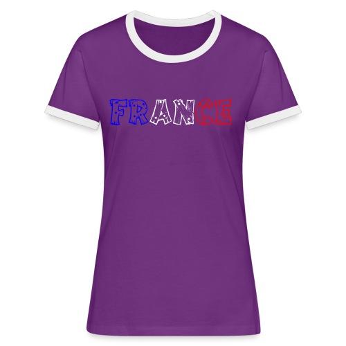T-shirt Femme - France tricolore Tip - T-shirt contrasté Femme