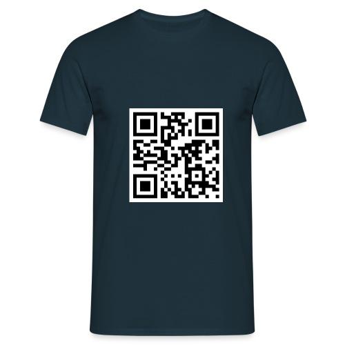 navyblaues PartyJena Shirt mit 2D Barcode www.partyjena.de - Männer T-Shirt