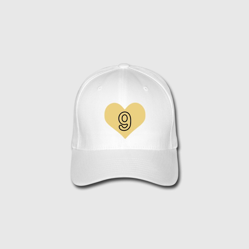 Number 9 heart Flexfit Baseball Cap - Flexfit Baseball Cap