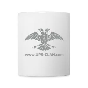 [UPS] Kaffeepott aus weißer Keramik, Aufdruck in Grau - Tasse