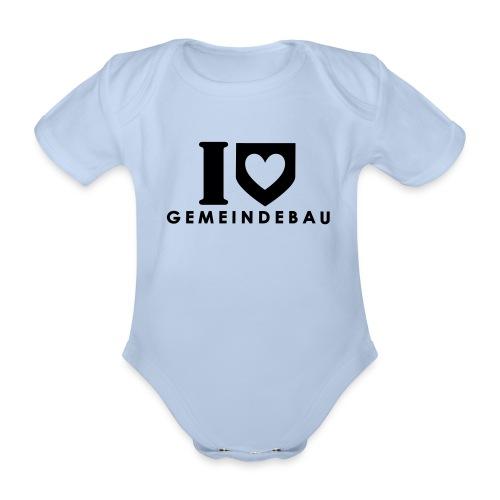 Mädchen-Babystrampler: I love Gemeindebau - Baby Bio-Kurzarm-Body